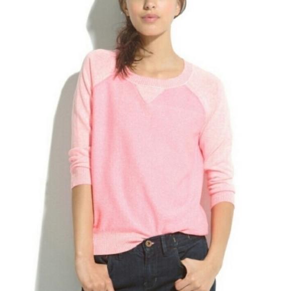 Madewell   Linen Blend Neon Pink Crewneck Sweater